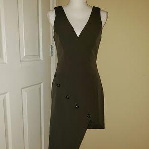 NWT Essue olive green faux wrap dress